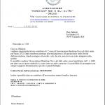 Lettera di ringraziamento dall'Associazione onlus