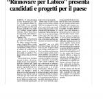 Articolo su Ciociaria Oggi per le elezioni di Labico.
