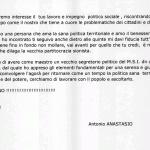 Lettera di solidarietà da Antonio Anastasio (rappresentante dei cittadini di Ardea)