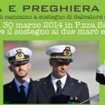 30 marzo 2014 ore 10: invito da Papa Francesco a sostegno dei due marò e delle loro famiglie.  La preghiera oltre la politica.