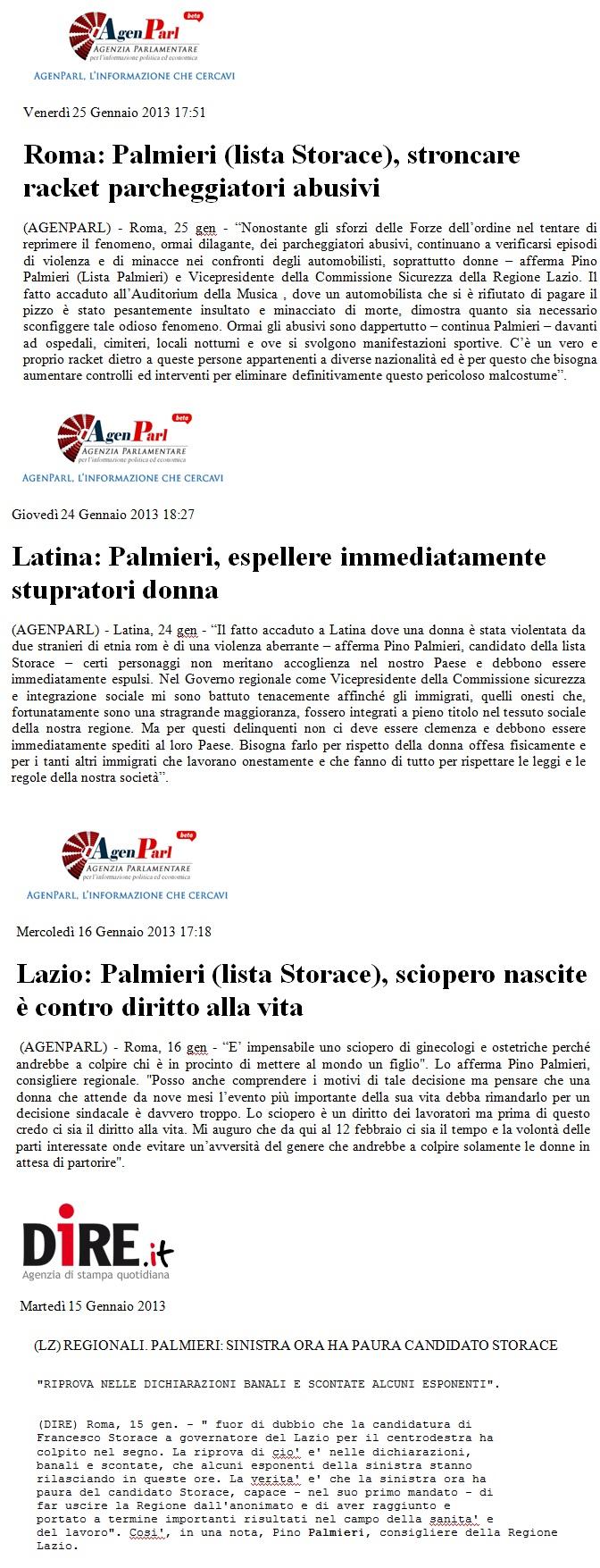 Pubblicazioni sui Giornali di Gennaio 2013.